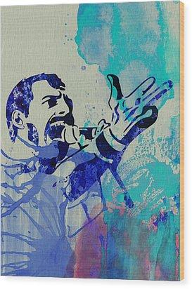 Freddie Mercury Queen Wood Print by Naxart Studio