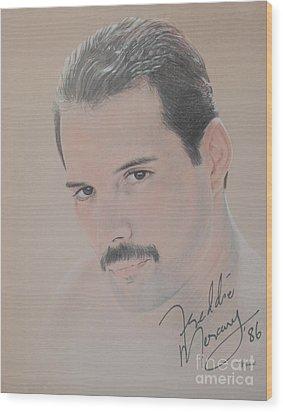 Freddie Mercury Signed  Wood Print by John Sterling