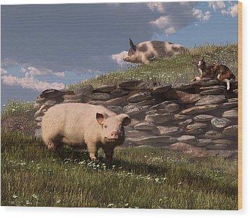 Free Range Pigs Wood Print by Daniel Eskridge