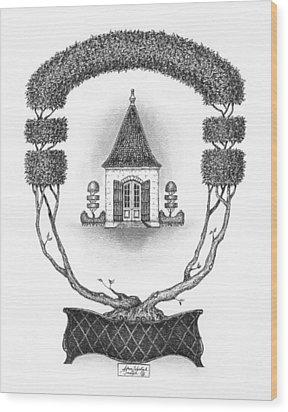 French Garden House Wood Print by Adam Zebediah Joseph