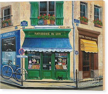 French Pastry Shop Wood Print by Marilyn Dunlap