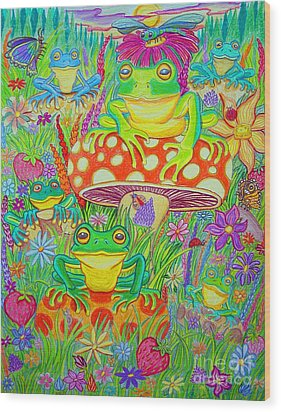 Frogs And Mushrooms Wood Print by Nick Gustafson