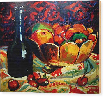 Fruit Bowl And Bottle Wood Print by Brian Simons