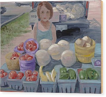 Fruit Stand Girl Wood Print by Cathy France