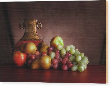 Fruit With Vase Wood Print by Tom Mc Nemar