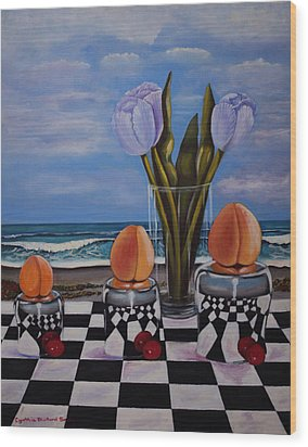 Fruity Day At The Beach Wood Print by Cynthia Bluford