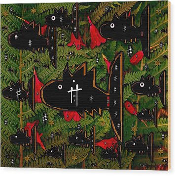 Fugi Sashi In The Deep Sea Of Japan Wood Print by Pepita Selles