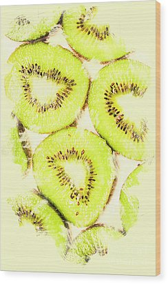 Full Frame Shot Of Fresh Kiwi Slices With Seeds Wood Print by Jorgo Photography - Wall Art Gallery