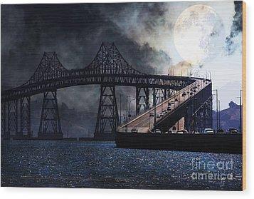 Full Moon Surreal Night At The Bay Area Richmond-san Rafael Bridge - 5d18440 Wood Print by Wingsdomain Art and Photography