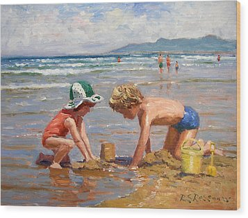 Fun At The Beach Wood Print by Roelof Rossouw