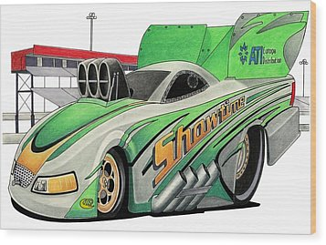 Funny Car Toon Wood Print by Lyle Brown