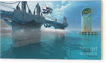 Futuristic Skyway Wood Print by Corey Ford