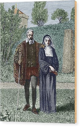 Galileo And His Daughter Maria Celeste Wood Print by Sheila Terry