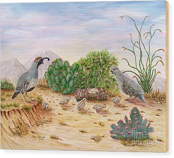 Gambel Quails Day In The Life Wood Print by Judy Filarecki