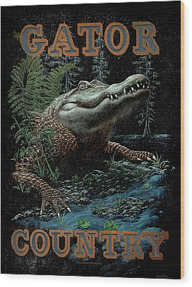 Gator Country Wood Print by JQ Licensing