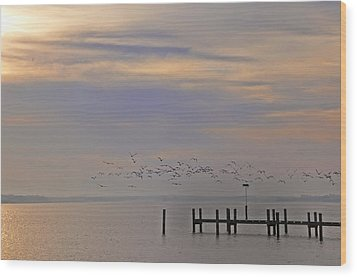 Geese Over The Chesapeake Wood Print by Bill Cannon