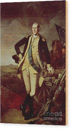 George Washington At Princeton Wood Print by Charles Willson Peale