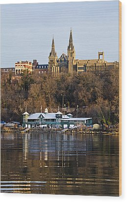 Georgetown University Waterfront  Wood Print by Brendan Reals