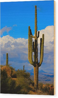 Giant Saguaro In The Southwest Desert  Wood Print by James BO  Insogna