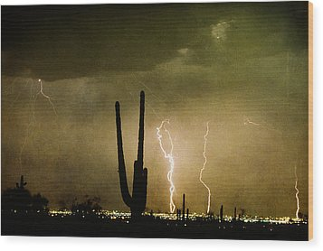 Giant Saguaro Southwest Lightning  Peace Out  Wood Print by James BO  Insogna