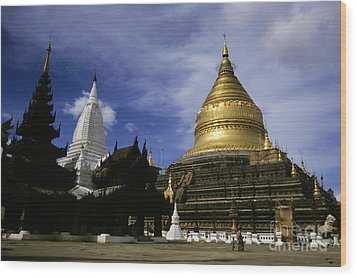 Gilded Stupa Of The Shwezigon Pagoda Wood Print by Sami Sarkis