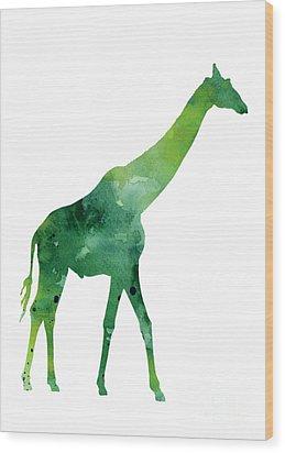 Giraffe African Animals Gift Idea Wood Print by Joanna Szmerdt