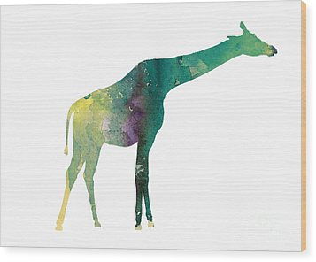 Giraffe Colorful Watercolor Painting Wood Print by Joanna Szmerdt