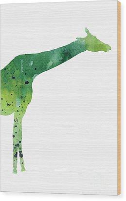 Giraffe Drawing Watercolor Art Print Wood Print by Joanna Szmerdt