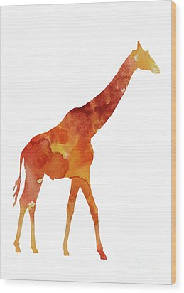 Giraffe Minimalist Painting For Sale Wood Print by Joanna Szmerdt