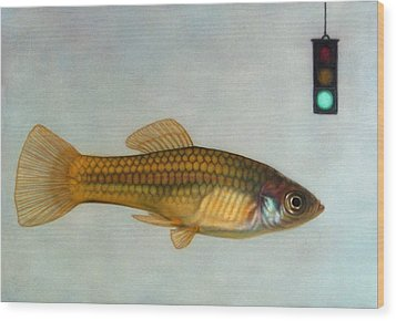 Go Fish Wood Print by James W Johnson