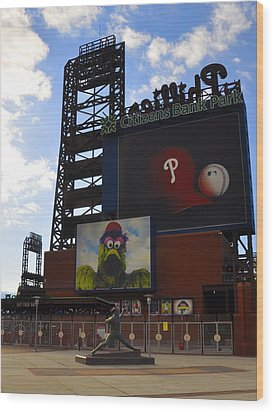 Go Phillies - Citizens Bank Park - Left Field Gate Wood Print by Bill Cannon