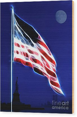 God Bless America Wood Print by Wingsdomain Art and Photography