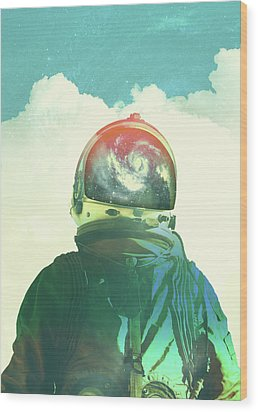 God Is An Astronaut Wood Print by Fran Rodriguez