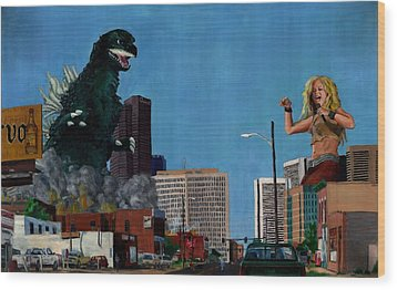 Godzilla Versus Shakira Wood Print by Thomas Weeks