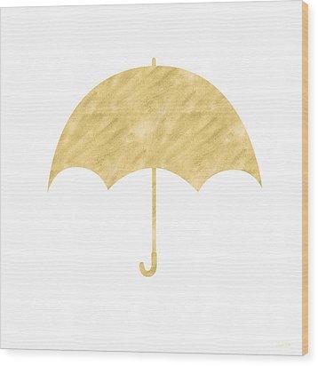Gold Umbrella- Art By Linda Woods Wood Print by Linda Woods