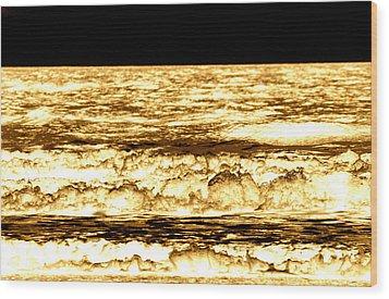 Gold Waves Wood Print by Duke Brito