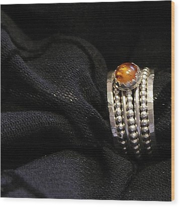 Golden Honey Baltic Amber And Stackable Sterling Silver Bold Rings Wood Print by Nadina Giurgiu