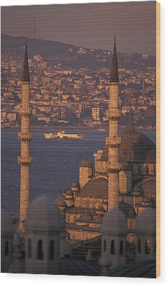 Golden Horn At Sunset From Suleymaniye Wood Print by Richard Nowitz