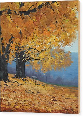 Golden Leaves Wood Print by Graham Gercken