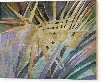 Golden Palms Wood Print by Mindy Newman