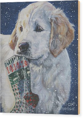 Golden Retriever With Xmas Stocking Wood Print by Lee Ann Shepard