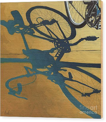 Golden Shadows - Wheels Wood Print by Linda Apple