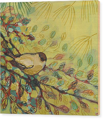 Goldfinch Waiting Wood Print by Jennifer Lommers