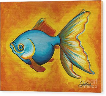 Goldfish Wood Print by Sabina Espinet