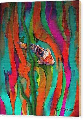 Goldfish World Wood Print by Nick Diemel