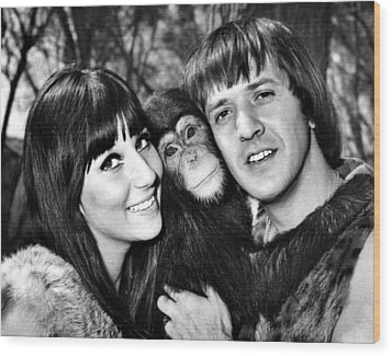Good Times, Cher, Sonny Bono, On Set Wood Print by Everett
