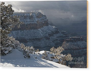 Grand Canyon Storm Wood Print by Sandra Bronstein