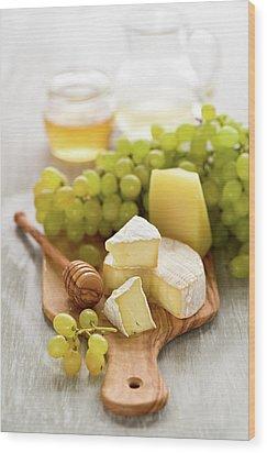 Grape, Honey And Cheese Wood Print by Verdina Anna