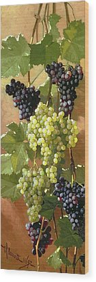 Grapes Wood Print by Edward Chalmers Leavitt