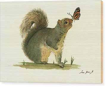 Gray Squirrel Butterfly Wood Print by Juan Bosco